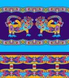 Animal ethnique folklorique - monkey avec la géométrie sans couture Photographie stock libre de droits