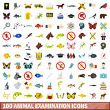 100 animal examination icons set, flat style. 100 animal examination icons set in flat style for any design vector illustration Royalty Free Stock Photo