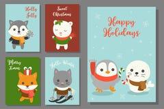 Animal exhausto del garabato de la mano de la tarjeta de felicitación del sistema de la Navidad con el carácter lindo en diseño p ilustración del vector