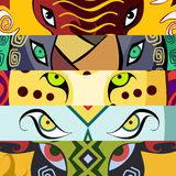 Animal eyes. Elephant, buffalo, lion, leopard, rhino. Vector illustration. Royalty Free Stock Photo