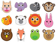 Animal Face Cartoon Set. Illustration design animal face head collection white background Royalty Free Stock Image