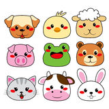 Animal Face Collection. Collection of nine funny and cute happy animal faces smiling Stock Photo