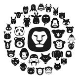 Animal face flat character flat icon design Stock Photos