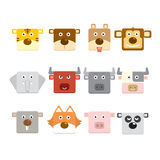 Animal face. Icon set so cute Royalty Free Stock Photography