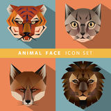 Animal face icon set Royalty Free Stock Image