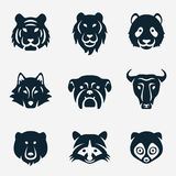 Animal face  icon set. Vector illustration Royalty Free Stock Images