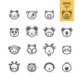 Animal face icons set. Royalty Free Stock Photo