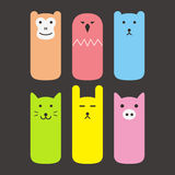 Animal face label icon design set Royalty Free Stock Images