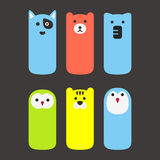 Animal face label icon design set Royalty Free Stock Photography
