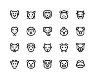 Animal Face Line Icons stock illustration
