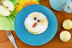 Animal face pancake sandwich for kid children breakfast Stock Photos