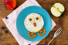 Animal face pancake sandwich for kid children breakfast Stock Photography