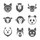 Animal face set. Vector illustration Stock Image