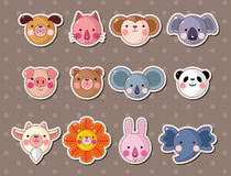 Animal face stickers. Cartoon vector  illustration Royalty Free Stock Photo