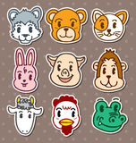 Animal face stickers Stock Photo