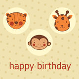 Animal faces happy birthday card Royalty Free Stock Images