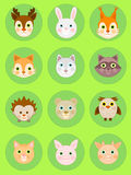 Animal faces icon set, cartoon animal head vector Stock Images