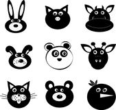 Animal faces icon vector cartoon Royalty Free Stock Photography
