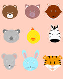 Animal Faces. Illustration of animal faces set Stock Images