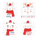 Animal faces in Santa Claus hat. Set of hand drawn cute funny animal faces in Santa Claus hats, mufflers, with winter holidays, Christmas quotes. Isolated Stock Images