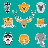 Animal faces set. Animal, faces, set,art,vector Stock Photo