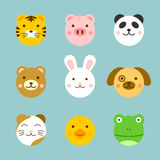 Animal Faces. A set of cute animal faces. Background placed on separate layer Royalty Free Stock Image