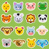 Animal faces sticker collection Stock Image