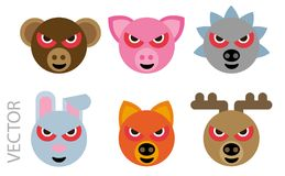 Animal faces. Vector illustration of an emotional animal faces Stock Photos