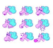 Vector collection of flat funny unicorns isolated on white background. Set of emoji smile characters. Animal facial expressions and emotions. Fairy neon magic Vector Illustration