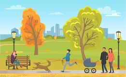 Animal familier avec le propriétaire et la famille en Autumn Park Vector illustration libre de droits