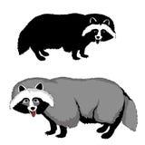 Animal familier de silhouette de noir de chien de raton laveur réaliste Photographie stock