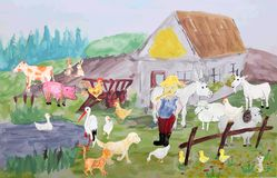 Animal farm. Illustration of a farm full of animals and a farmer Stock Images