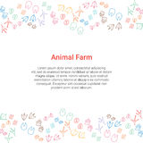 Animal Farm concept. Poultry, pet steps background with text. Vector business template Royalty Free Stock Photo