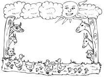 Animal farm frame. Illustration of various farm animals made as a frame Stock Photos