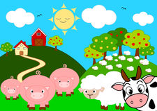Animal farm funny cartoon illustration Royalty Free Stock Images