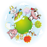 Animal farm land. With cow,goat,pi,hamster,hen and many trees in four season - spring,summer,fall and winter Stock Photo