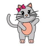 Animal femenino adorable del gato con la mano para arriba libre illustration