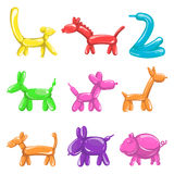 Animal figures made of balloons poster on white Royalty Free Stock Photography