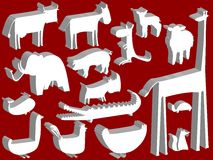 Animal figurines over red background Stock Photography