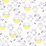 Animal fitness. Seamless pattern with sheeps and sport inventory. Stock Photo