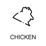 Animal flat icon. Chicken icon. Single high quality outline symbol for web design or mobile app. Thin line sign for design logo. Black outline pictogram on white Royalty Free Stock Photos
