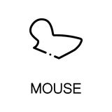 Animal flat icon. Mouse icon. Single high quality outline symbol for web design or mobile app. Thin line sign for design logo. Black outline pictogram on white Royalty Free Stock Photography