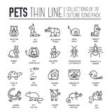 Animal flat thin line illustration icons set. Outline cute home pets on isolated background. Different collection. Domestic wildlife objects concept Stock Photo