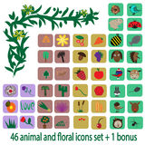 46 animal and floral icons set+1 bonus Royalty Free Stock Image