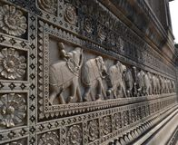Motifs on Historic Building in India Royalty Free Stock Photography