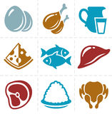Animal foods icon set Stock Images