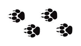 Animal foot prints and tracks isolated steps traces on white for wildlife concept design vector. Animal black foots and wildlife animal mammal steps, pet traces Stock Photography