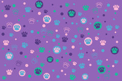 Animal footprint. Colorful animal footprint on a purple background Royalty Free Stock Image