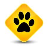 Animal footprint icon elegant yellow diamond button Royalty Free Stock Photos