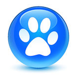 Animal footprint icon glassy cyan blue round button Royalty Free Stock Images